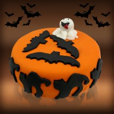 Halloween Ghost & Bat Cake and Spooky Cupcakes
