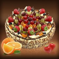 Fruity Cake with Mascarpone Cream
